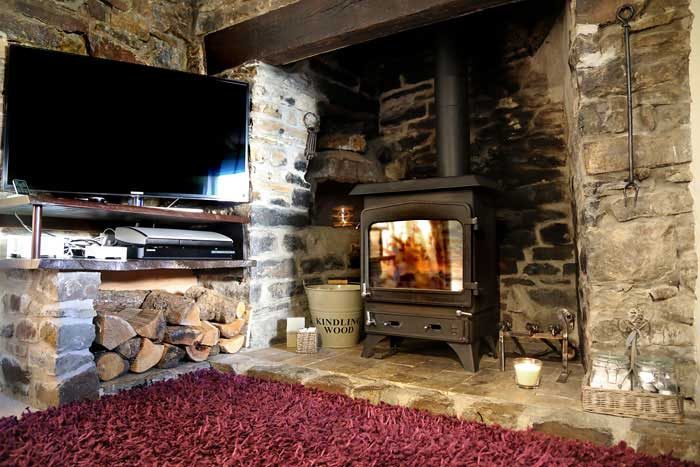 Log fire cottage